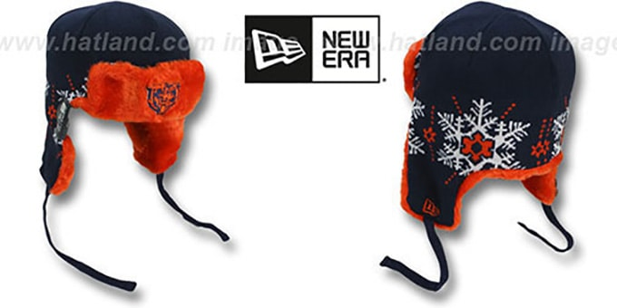 Bears 'SNOWFLAKE TRAPPER' Navy-Orange Knit Hat by New Era : pictured without stickers that these products are shipped with