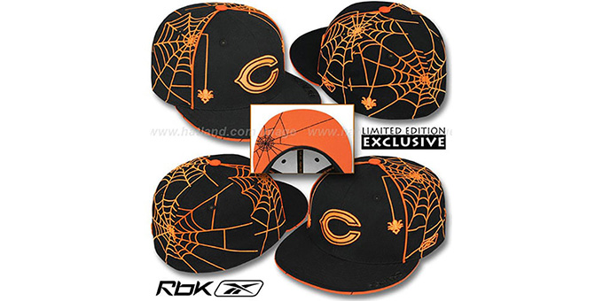 Bears 'SPIDERWEB' Black Fitted Hat by Reebok : pictured without stickers that these products are shipped with