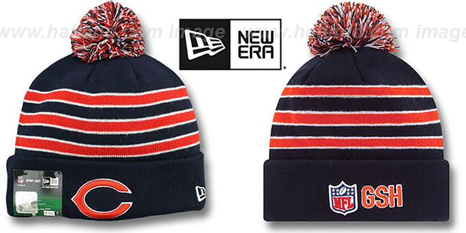 Bears 'STADIUM' Knit Beanie Hat by New Era : pictured without stickers that these products are shipped with
