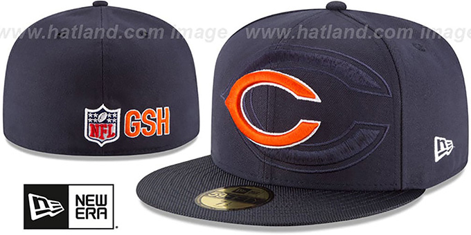 Bears 'STADIUM SHADOW' Navy Fitted Hat by New Era : pictured without stickers that these products are shipped with
