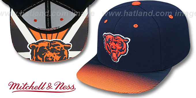 Bears 'STOP-ON-A-DIME SNAPBACK' Navy-Orange Hat by Mitchell and Ness : pictured without stickers that these products are shipped with
