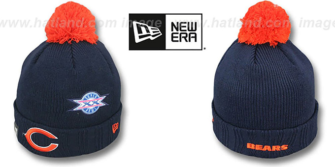 Bears 'SUPER BOWL PATCHES' Navy Knit Beanie Hat by New Era : pictured without stickers that these products are shipped with