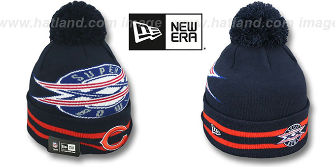 Bears 'SUPER BOWL XX' Navy Knit Beanie Hat by New Era : pictured without stickers that these products are shipped with