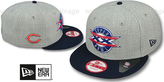 Bears 'SUPER BOWL XX SNAPBACK' Grey-Navy Hat by New Era : pictured without stickers that these products are shipped with