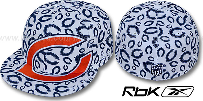Bears 'SUPERSIZE FLOCKING' White Fitted Hat by Reebok : pictured without stickers that these products are shipped with