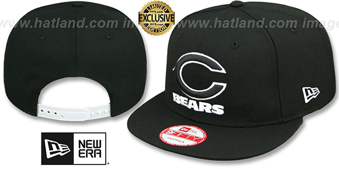 Bears 'TEAM-BASIC SNAPBACK' Black-White Hat by New Era : pictured without stickers that these products are shipped with
