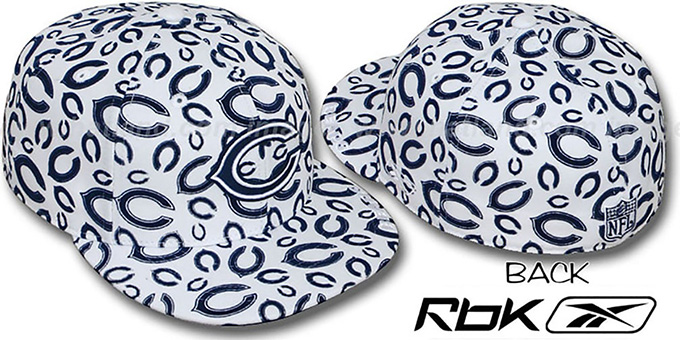Bears 'TEAM-FLOCKING ALL-OVER' White Fitted Hat by Reebok : pictured without stickers that these products are shipped with