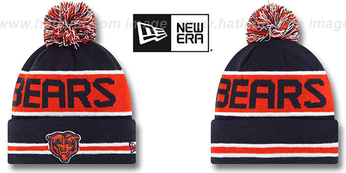 Bears 'THE-COACH' Navy Knit Beanie Hat by New Era : pictured without stickers that these products are shipped with