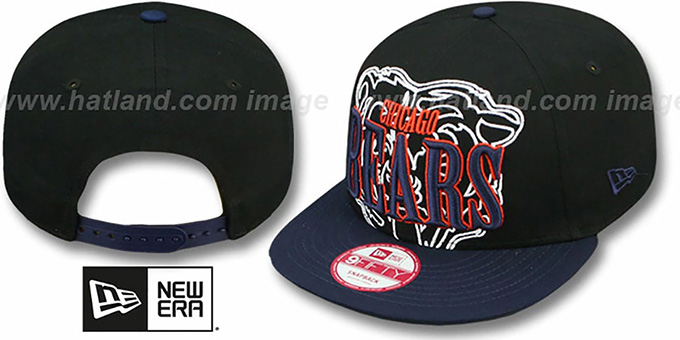 Bears 'THROUGH SNAPBACK' Black-Navy Hat by New Era : pictured without stickers that these products are shipped with