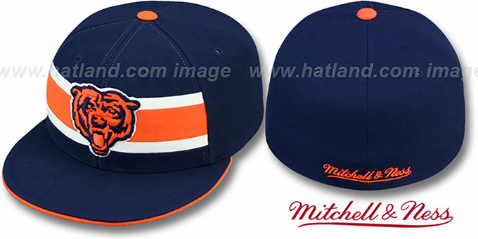 Bears 'THROWBACK TIMEOUT' Navy Fitted Hat by Mitchell & Ness : pictured without stickers that these products are shipped with