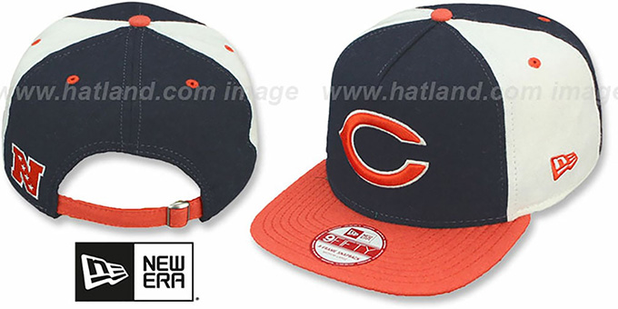 Bears 'TRIPLE MELTON STRAPBACK' Navy-White-Orange Hat by New Era : pictured without stickers that these products are shipped with