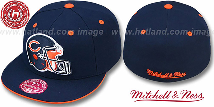 Bears 'XL-HELMET' Navy Fitted Hat by Mitchell & Ness : pictured without stickers that these products are shipped with