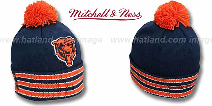 Bears 'XL-LOGO BEANIE-2' Navy by Mitchell and Ness : pictured without stickers that these products are shipped with