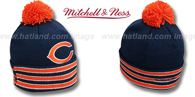 Bears 'XL-LOGO BEANIE' Navy by Mitchell and Ness : pictured without stickers that these products are shipped with