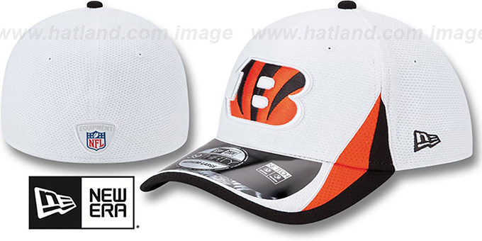 Bengals '2013 NFL TRAINING FLEX' White Hat by New Era : pictured without stickers that these products are shipped with
