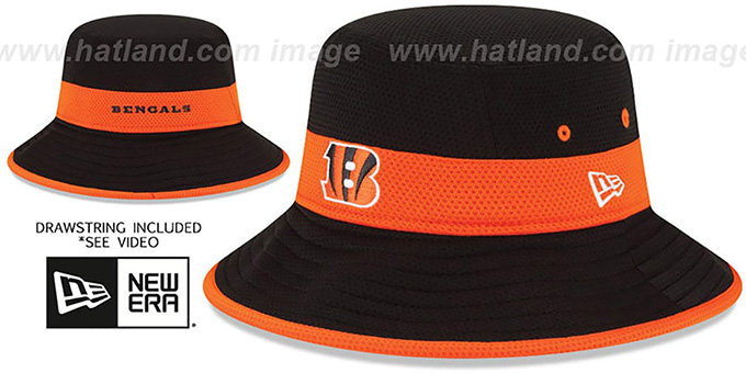 Bengals '2015 NFL TRAINING BUCKET' Black Hat by New Era : pictured without stickers that these products are shipped with