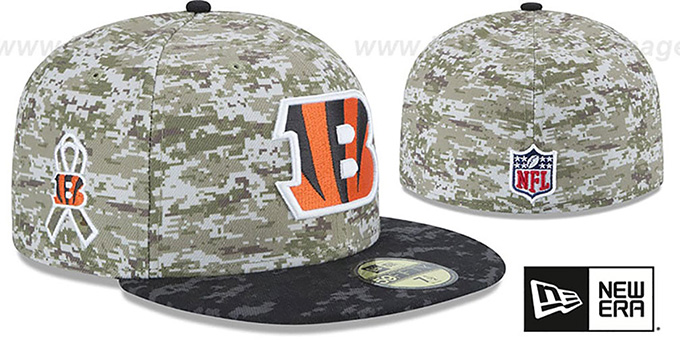 Bengals '2015 SALUTE-TO-SERVICE' Desert-Black Fitted Hat by New Era : pictured without stickers that these products are shipped with