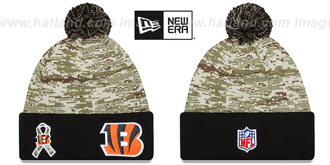 Bengals '2015 SALUTE-TO-SERVICE' Knit Beanie Hat by New Era : pictured without stickers that these products are shipped with