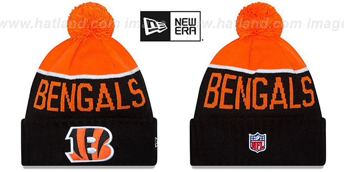 Bengals '2015 STADIUM' Black-Orange Knit Beanie Hat by New Era : pictured without stickers that these products are shipped with