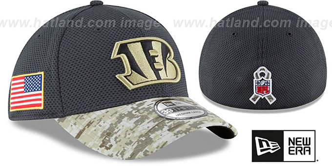 Bengals '2016 SALUTE-TO-SERVICE FLEX' Grey-Desert Hat by New Era : pictured without stickers that these products are shipped with