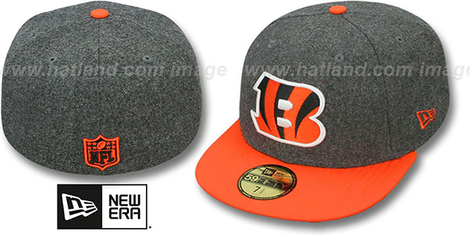 Bengals '2T NFL MELTON-BASIC' Grey-Orange Fitted Hat by New Era : pictured without stickers that these products are shipped with