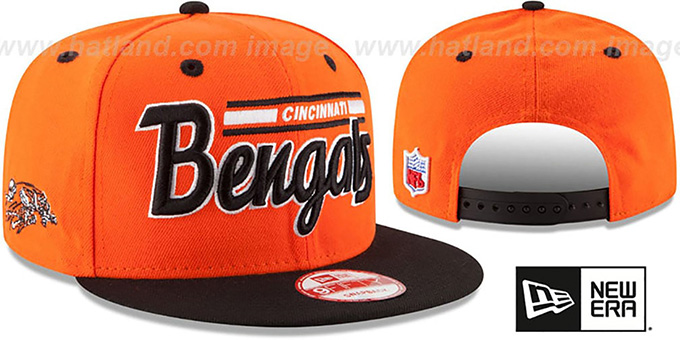 Bengals '2T RETRO-SCRIPT SNAPBACK' Orange-Black Hat by New Era : pictured without stickers that these products are shipped with