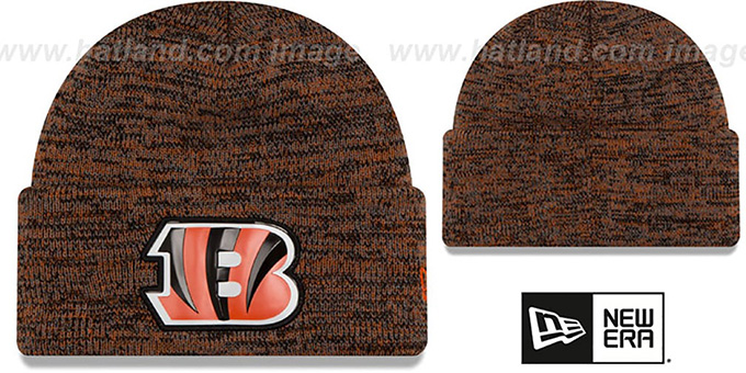 Bengals 'BEVEL' Orange-Black Knit Beanie Hat by New Era : pictured without stickers that these products are shipped with