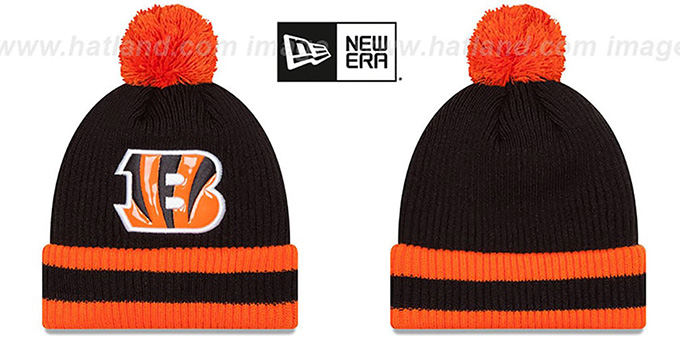Bengals 'CHILLER FILLER BEANIE' Black-Orange by New Era : pictured without stickers that these products are shipped with