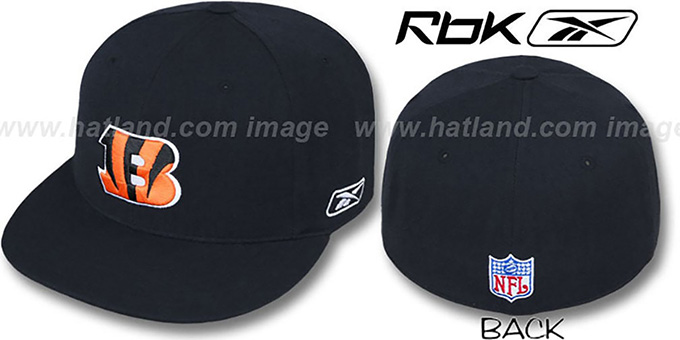 Bengals 'COACHES' Black Fitted Hat by Reebok : pictured without stickers that these products are shipped with