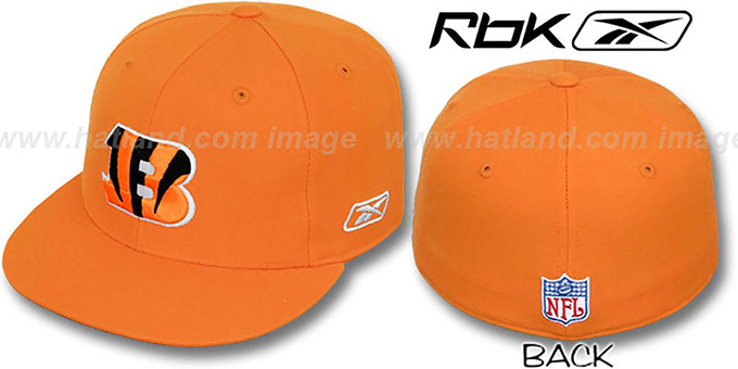 Bengals 'COACHES' Orange Fitted Hat by Reebok : pictured without stickers that these products are shipped with