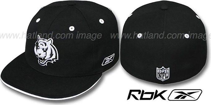 Bengals 'DARKSIDE' Black-White Fitted Hat by Reebok : pictured without stickers that these products are shipped with
