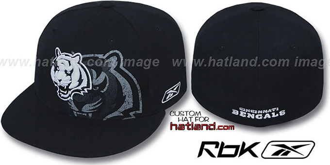 Bengals 'DOUBLECOVERAGE' Black-White Fitted Hat by Reebok : pictured without stickers that these products are shipped with