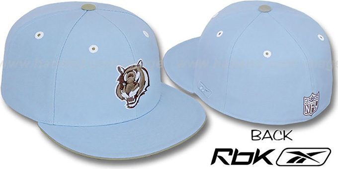Bengals 'KOLORS' Light Blue Fitted Hat by Reebok : pictured without stickers that these products are shipped with