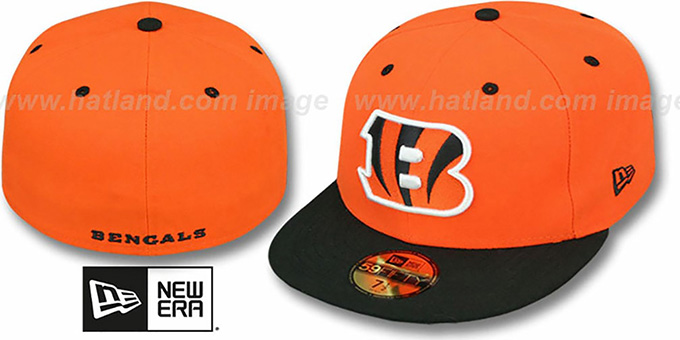 Bengals 'NFL 2T-TEAM-BASIC' Orange-Black Fitted Hat by New Era : pictured without stickers that these products are shipped with