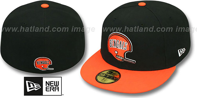 Bengals 'NFL 2T THROWBACK TEAM-BASIC' Black-Orange Fitted Hat by New Era : pictured without stickers that these products are shipped with