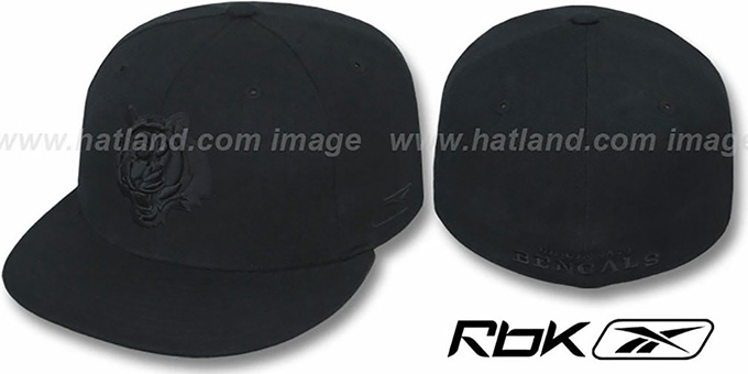 Bengals 'NFL-BLACKOUT' Fitted Hat by Reebok : pictured without stickers that these products are shipped with