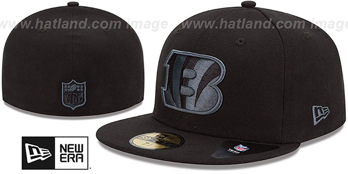 Bengals 'NFL FADEOUT-BASIC' Black Fitted Hat by New Era : pictured without stickers that these products are shipped with