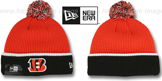 Bengals 'NFL FIRESIDE' Orange-Black Knit Beanie Hat by New Era : pictured without stickers that these products are shipped with