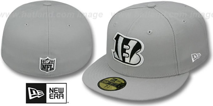 Bengals 'NFL TEAM-BASIC' Grey-Black-White Fitted Hat by New Era : pictured without stickers that these products are shipped with