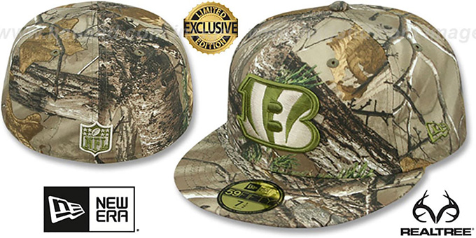Bengals 'NFL TEAM-BASIC' Realtree Camo Fitted Hat by New Era : pictured without stickers that these products are shipped with