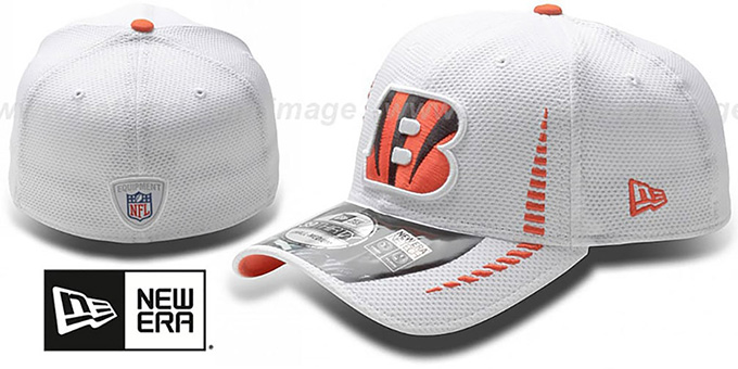Bengals 'NFL TRAINING FLEX' White Hat by New Era : pictured without stickers that these products are shipped with