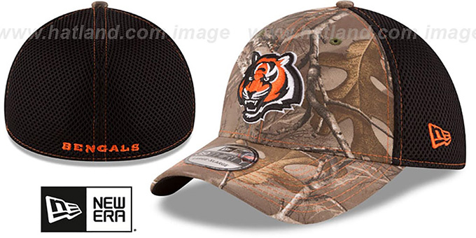 Bengals 'REALTREE NEO MESH-BACK' Flex Hat by New Era : pictured without stickers that these products are shipped with