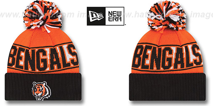 Bengals 'REP-UR-TEAM' Knit Beanie Hat by New Era : pictured without stickers that these products are shipped with