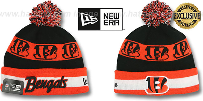 Bengals 'REPEATER SCRIPT' Knit Beanie Hat by New Era : pictured without stickers that these products are shipped with