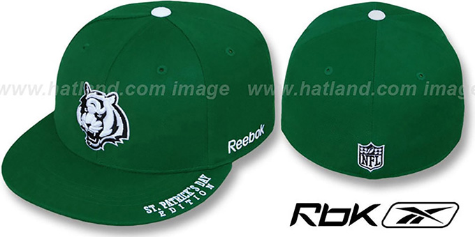 Bengals 'St Patricks Day' Green Fitted Hat by Reebok : pictured without stickers that these products are shipped with