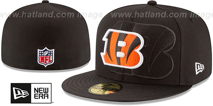 Bengals 'STADIUM SHADOW' Black Fitted Hat by New Era : pictured without stickers that these products are shipped with
