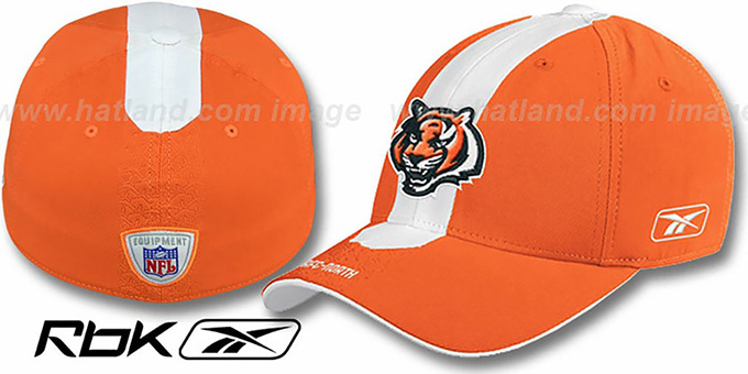 Bengals 'STREAK FLEX' Orange Hat by Reebok : pictured without stickers that these products are shipped with