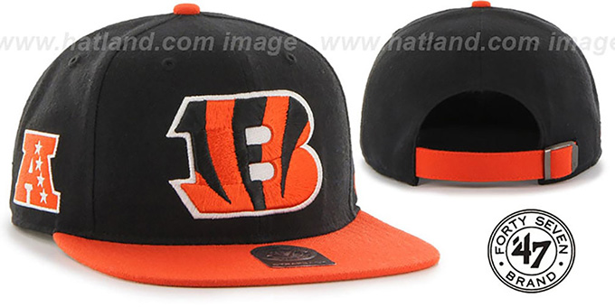 Bengals 'SUPER-SHOT STRAPBACK' Black-Orange Hat by Twins 47 Brand : pictured without stickers that these products are shipped with