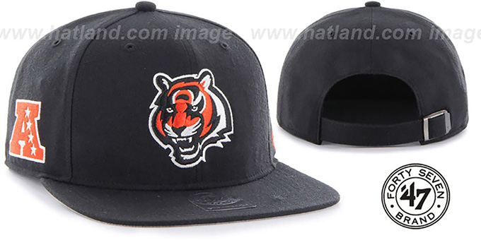 Bengals 'SUPER-SHOT STRAPBACK' Black Hat by Twins 47 Brand : pictured without stickers that these products are shipped with