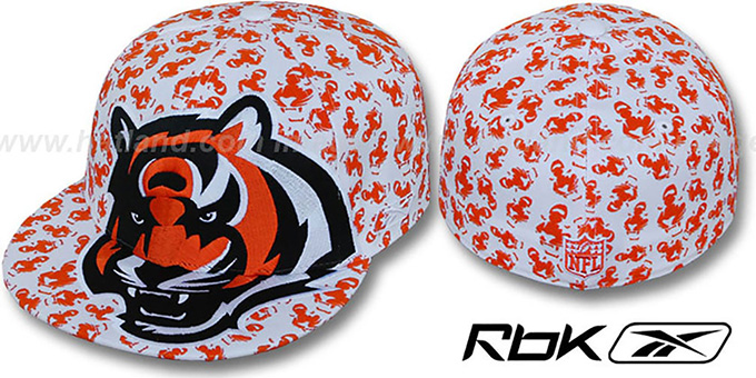 Bengals 'SUPERSIZE FLOCKING' White Fitted Hat by Reebok : pictured without stickers that these products are shipped with